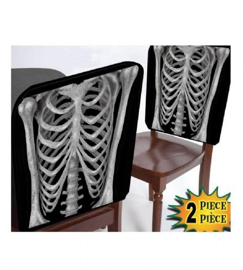 Pack of 2 Skeleton Halloween Chair Covers for Halloween Party Decorations Bones